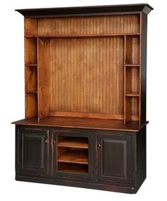 Primitive Entertainment Center Armoire Tv Lcd Stand Cabinet Country Farmhouse