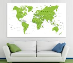 Large canvas print detailed world map with colorful continents wall large canvas print detailed world map with colorful continents wall art with countries nameshome decor world map canvas print ready to hang by can gumiabroncs Image collections