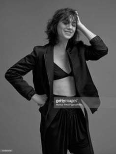 Actress Charlotte Gainsbourg is photographed for Madame Figaro on December 16, 2016 in Paris, France. Jacket (Gerard Darel), pants (Louis Vuitton), Bra personal. PUBLISHED IMAGE.