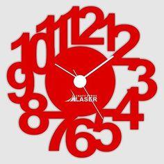 through-cut-designer-Red-wall-clock-LaserCraftStore-A1005