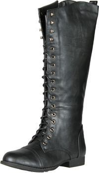 Lace up High Combat Riding Boots (Available from: http://shoecenter.com/refresh-libby-05-womens-lace-up-knee-high-combat-riding-boots/)