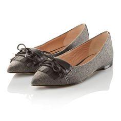 Ballerina, klassisch, Materialmix, Leder, Textil Vorderansicht