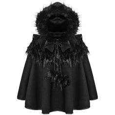 Punk Rave Dolly Hooded Cape Black Faux Fur Trim Gothic Lolita Coat... ❤ liked on Polyvore featuring outerwear, poncho cape coat, cape coat, hooded poncho, faux fur trimmed cape and poncho cape