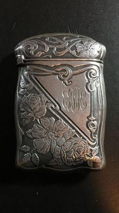 Antique 1900-1915 Sterling Silver Floral Triangular Art Nouveau Match Safe Vesta