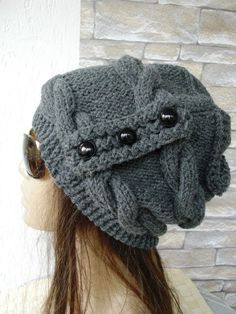 Slouchy cable style beanie hat Charcoal Gray   Knit hat  by Ebruk
