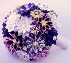 Fabric Wedding Bouquet brooch bouquet Lilac Purple by LIKKO