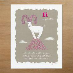 Alphabet Art for Kids, Ibex ABC Print in Pink