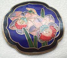 BEAUTIFUL VINTAGE JEWELLERY CLOISONNE ENAMEL ORCHID FLOWERS BLUE BROOCH/PIN. SOLD.