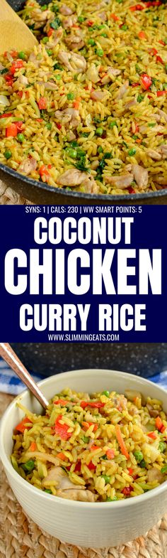Delicious Low Syn Coconut Chicken Curry Rice an all in one family-friendly meal that is packed with flavour Coconut Curry Chicken, Chicken Curry, Chicken Rice, Basil Chicken, Slimming World Vegetarian Recipes, Healthy Recipes, Weeknight Recipes, Savoury Recipes, Healthy Dinners