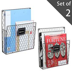 Set of 2 Wall Mounted Chicken Wire Magazine Organizer Rac...