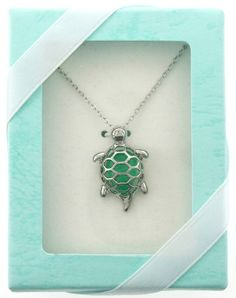 Jade Green Turtle Necklace Gift Boxed