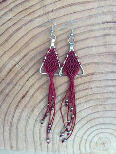 Items similar to Macramé Earrings! on Etsy Macrame Rings, Macrame Jewelry, Diy Earrings, Earrings Handmade, Crochet Jewelry Patterns, Macrame Plant Hangers, Macrame Design, Macrame Tutorial, Textile Jewelry