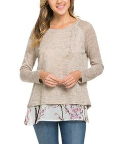 Another great find on #zulily! Beige Floral-Accent Split-Back Sweater #zulilyfinds