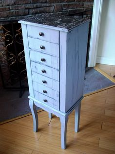 Hand painted Beautiful XX Large French Gray Wooden Jewelry Box / Jewelry Armoire / Chest by NJsDreamBoxes on Etsy https://www.etsy.com/listing/217713858/hand-painted-beautiful-xx-large-french