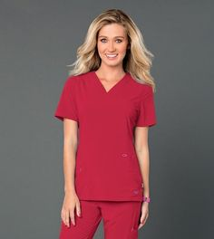 #smitten #scrubs #medical #fashion Smitten's S101002 ROCK GODDESS Tunic in TRUE RED #uniforms #health #healthcare #hospital #doctor #nurse #nursing #rn #school #student #vet #tech #dental #hygiene #cna #style #true #red