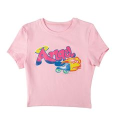 Angel Flame Skates Baby Pink Top sold by Violetlace Boutique. Shop more products from Violetlace Boutique on Storenvy, the home of independent small businesses all over the world. K Fashion, Kawaii Fashion, Womens Fashion, Tumblr Outfits, Girl Outfits, Cute Outfits, Belly Shirts, Mom Shirts, Aesthetic T Shirts