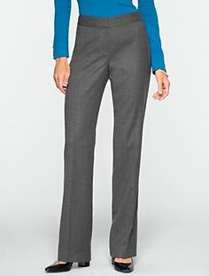 "99% wool,1% spandex.,then flannel,poly lining. black,dr blue,med. grey. inseam 29.5"". Talbots - Curvy Italian Flannel Wide-Leg Trousers | |"