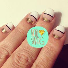 #nail #unhas #unha #nails #unhasdecoradas #nailart #gorgeous #fashion #stylish #lindo #cool #cute #fofo #listras #stripes #preto #branco #black #white #gold #dourado