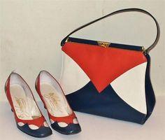 Johansen vintage Patriotic shoes and purse set Mid Century  7 AAA