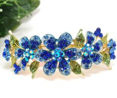 Blue rhinestone flowers hair jewelry Hair barrette clip for lady -- Visit the image link more details. (This is an Amazon affiliate link)