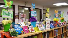 Spring display in the library – super fast, super easy!    Books are random selections from the shelves and kids are signing them out faster than I can pull books to take their place.