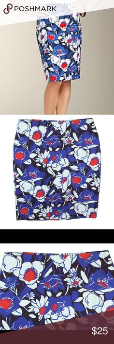 """New TALBOTS Red & Blue Floral Cotton Pencil Skirt NWOT. This new blue, red and white floral pencil skirt from Talbots features a back center zip closure, back center slit and is fully lined. Made of a cotton blend. Measures: Waist: 29"""", Hips: 37"""", Total Length: 21"""" Talbots Skirts Pencil"""