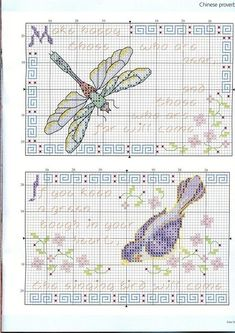cross stitch patterns free dragonfly | Dragonfly & sparrow - chinese proverbs cross stitch patterns