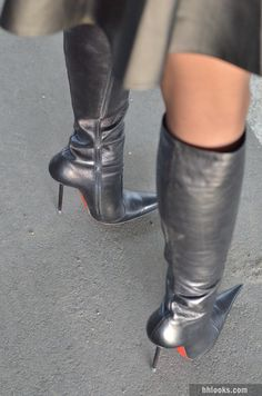 Posing in DiMarni knee high boots with stiletto high heels black skirt. Leather High Heel Boots, Thigh High Boots Heels, Hot High Heels, High Heels Stilettos, Black Leather Boots, Knee Boots, Heeled Boots, Nylons Heels, Shoes Heels Pumps