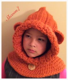 Bear Cowl in Pumkin /Toddler Child and Adult/ Wool Bear by ShevonL Cowl, Crochet Hats, Bear, Trending Outfits, Children, Handmade Gifts, Fashion, Scarves, Caps Hats