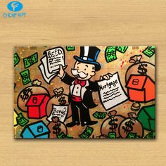 Gambles-in-Hong i Alec monopoly Graffiti print canvas for wall art decoration oil painting wall painting picture no frame -- Continue with the details at the image link. #HomeDecor