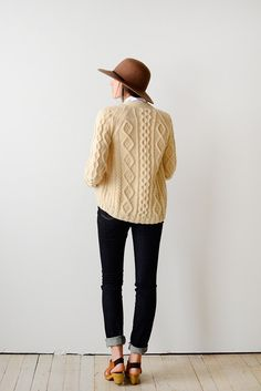 """abrittann: """" Cream Wool Cable Knit Sweater 