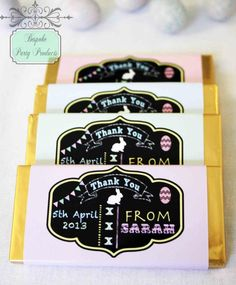 Custom chocolate candy bar wrappers with personalised chalkboard design.