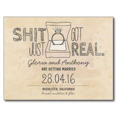 funny save the date postcard with ring.. haha this is awesome