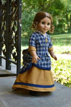 Victorian Bustle Day Gown 1880s in blue homespun and mustard, for AG dolls PemberleyThreads $73.50