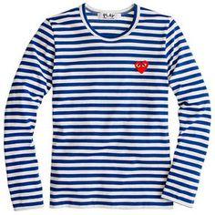 ccfe16369fdb67 Comme des Garcons PLAY stripe heart T-shirt - ShopStyle Longsleeve