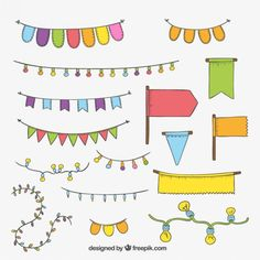 16 lantern and flag vector Cute Notes, Good Notes, Scrapbook Stickers, Planner Stickers, Planner Bullet Journal, Birthday Doodle, Happy Birthday, Photo Garland, Cactus Drawing