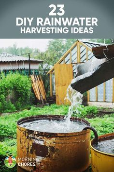 Want to collect rainwater at home and save money on water? Build one of these rainwater harvesting systems at home with barrels or tanks. Outdoor Projects, Garden Projects, Water Catchment, Rain Catchment System, Architecture Renovation, Rainwater Harvesting System, Water From Air, Water Storage, Water Conservation