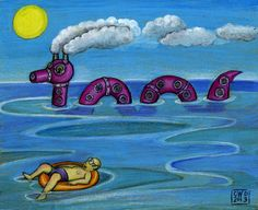 Lake Monster crayon on green paper by Carolyn Watson Dubisch