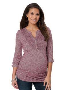 Motherhood Maternity: 3/4 Sleeve Henley Collar Side Ruched Maternity T Shirt Motherhood Maternity. $19.99