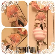 Coniglietto realizzato a mano con cartamodello e materiale acquistato in fiera allo stand dell'ape pazza!
