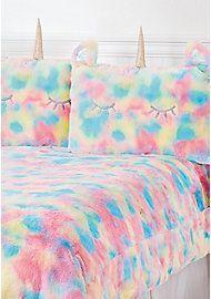 image of Unicorn Rainbow Faux Fur Comforter Set - Queen/Full Sizes with Unicorn Bed Set, Unicorn Rooms, Fur Comforter, Queen Comforter Sets, Full Size Comforter Sets, Bedding Sets, Girl Bedroom Designs, Girls Bedroom, Bedrooms