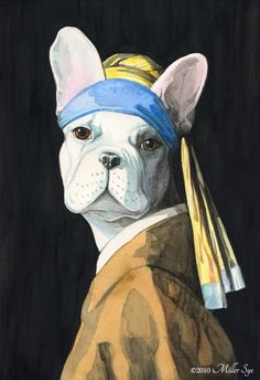 I can't believe it isn't in a museum: French Bulldog Vermeer Dog Portrait on Etsy :)