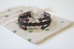 pink black brown Love bracelet infinity bracelet karma bracelet leather rope bracelet