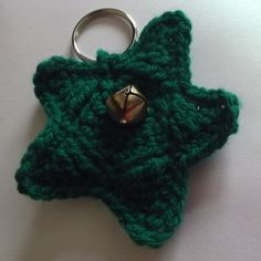 Crocheted Green Star Keyring with bell