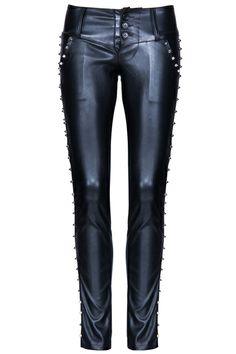 ROMWE   ROMWE Rivets Embellished Black Faux Leather Pants, The Latest Street Fashion