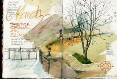 Cathy Johnson Urban Sketchers: Urban Sketchers Midwest at the Elms Hotel.  - art journal & sketchbook inspiration