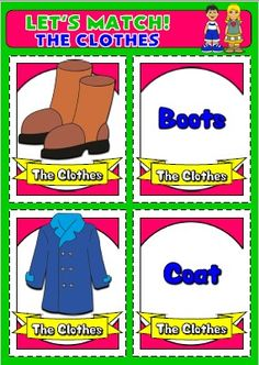English teaching resources + clothes flashcards Primary English, English Teaching Resources, English Vocabulary, Language, Let It Be, Memories, Cards, Pie, Clothes