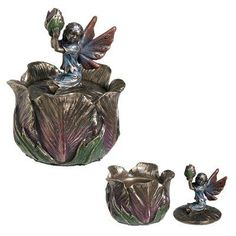 Art Nouveau Fairy Poppy Bud Box - Collectible Pixie Flower Jewelry Container