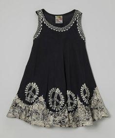 Black & White Peace Sign Dress - Toddler & Girls #zulily #zulilyfinds