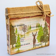 Layers of ink - Nature Journal and Box Tutorial by Anna-Karin Evaldsson. With Eileen Hull Folio die. Vintage Art, Vintage World Maps, First Folio, Design Tape, Forest Scenery, Nature Journal, Artist Trading Cards, Mixed Media Canvas, Natural Wonders